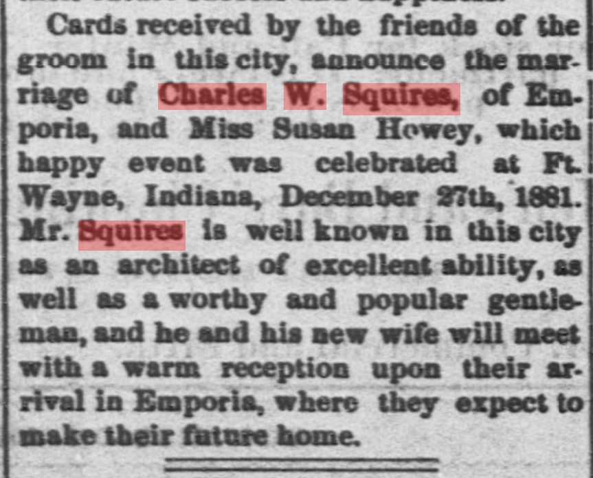 Emporia newspaper article mentioning marriage of Charles W. Squires to Susan Howey in late 1881