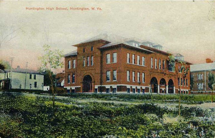 Postcard of Huntington's first high school