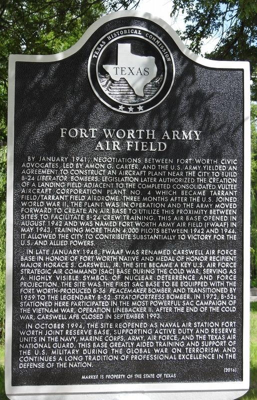 Fort Worth Army Air Field Historical Marker