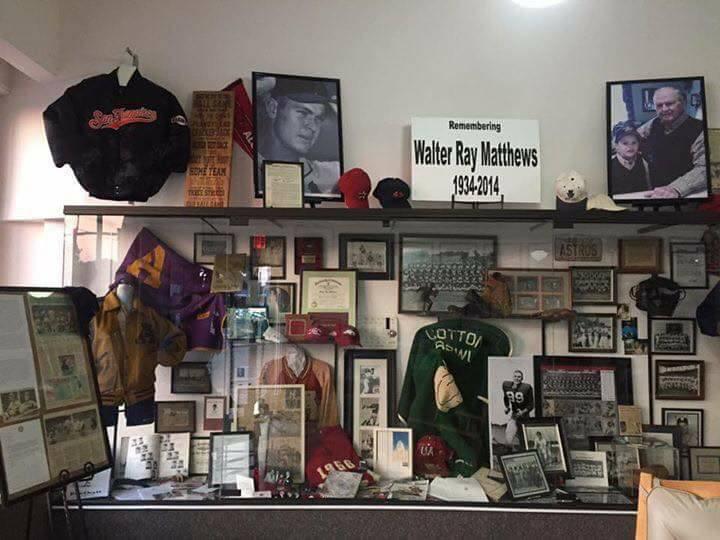 Walter Matthews display. Famous MLB player from Ashdown, AR.