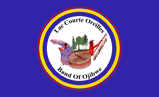 The flag of the Lac Courte Oreilles Band of the Lake Superior Ojibwe.