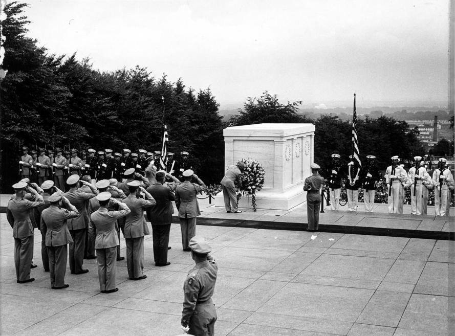 Former President Harry Truman laying a Wreath at the Tomb of the Unknown Soldier.