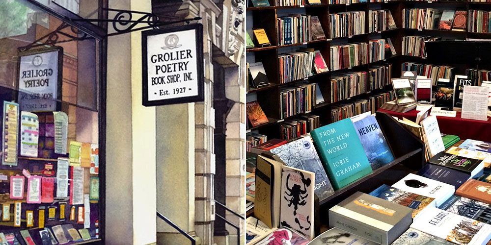 Inside and outside of Grolier Poetry Book Shop.