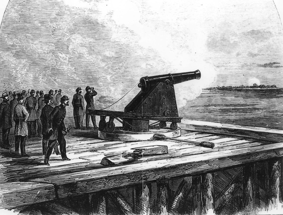 1898 engraving of the experimental Sawyer Rifle cannon installed at Fort Wool during the Civil War. It had a range of 3 miles and participated in the Battle of Hampton Roads, firing on the Confederate ironclad CSS Virginia.