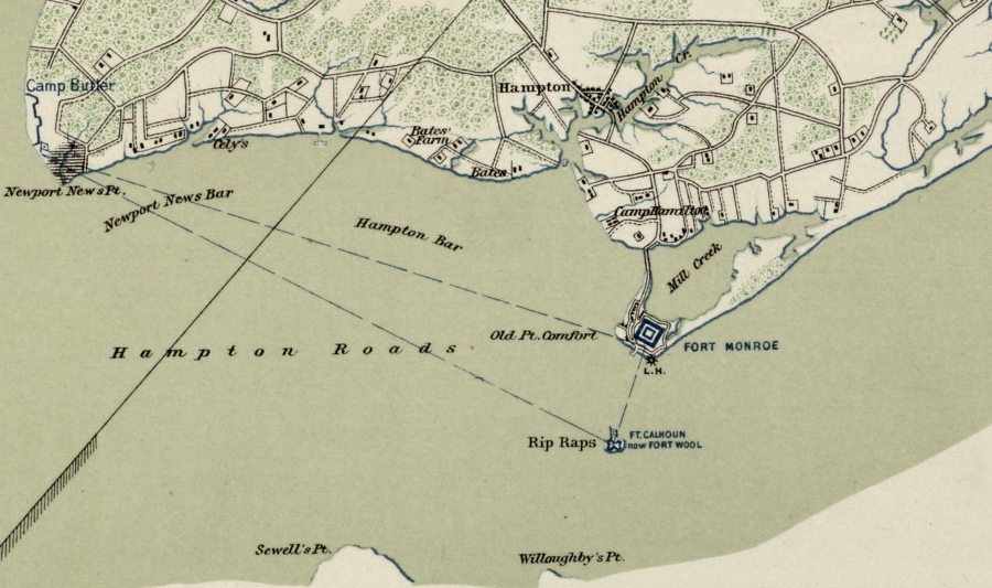"Map of Hampton Roads and Fort Wool (labeled as ""Rip Raps,"" the name of the original reef upon which the artificial island was built.  Library of Congress."