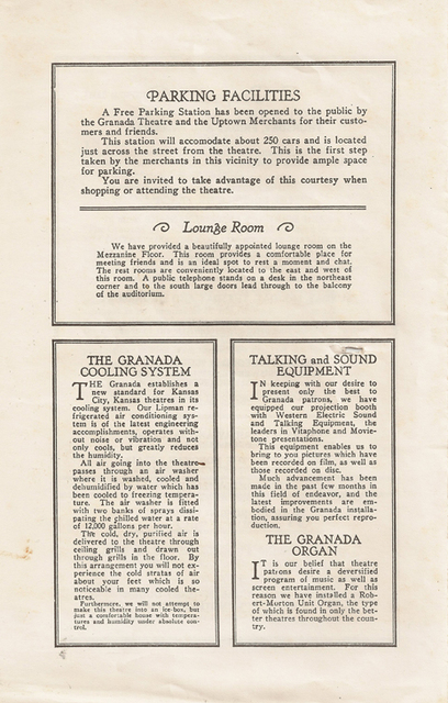 Part of the theater program circa 1929
