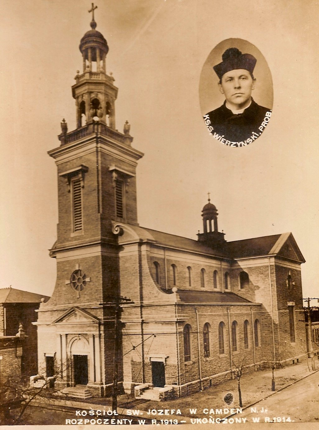 Early photograph of St Joseph's (Polish) Roman Catholic Church shortly after its completion in 1914.