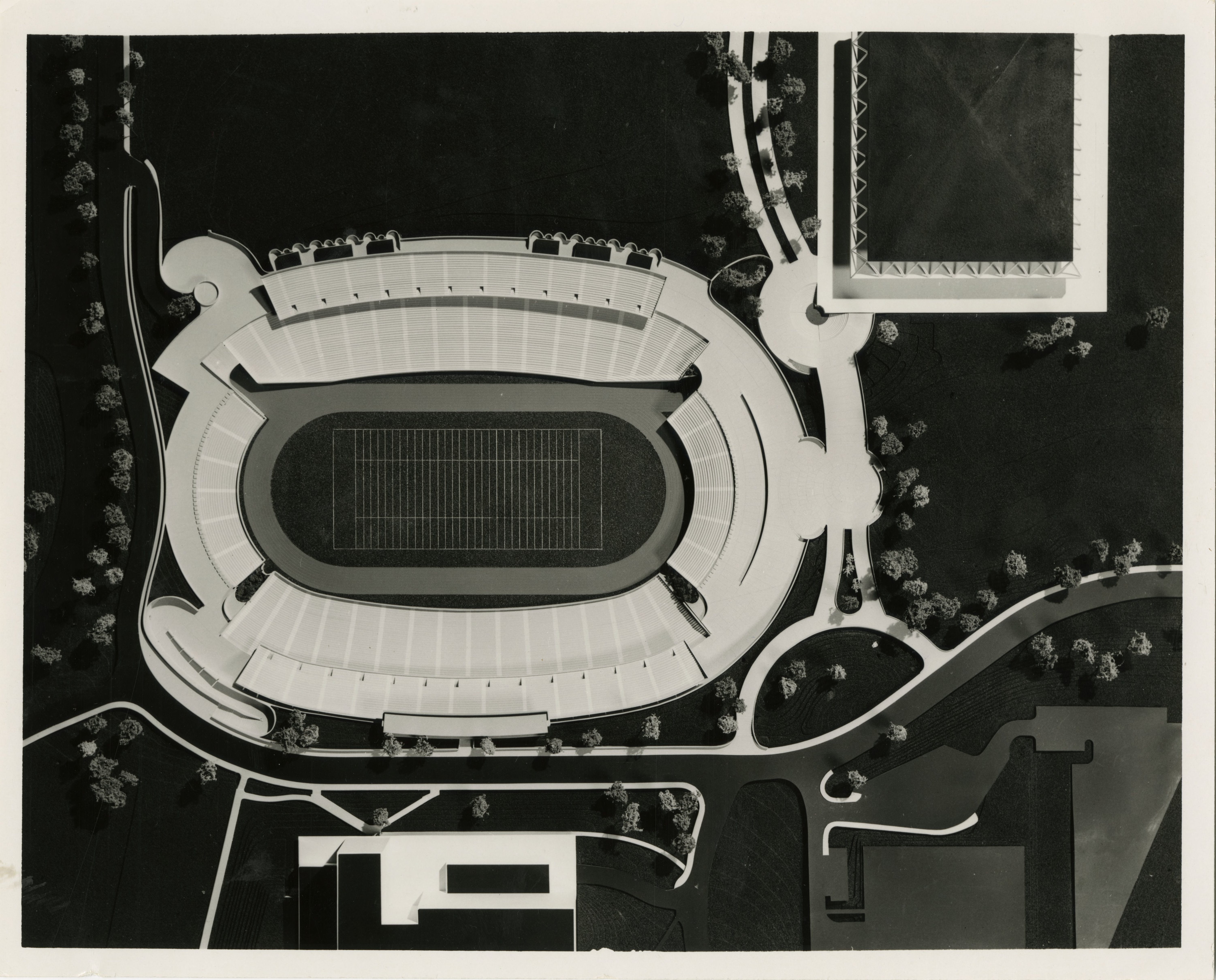 UCLA Library University Archives captures the original model for Drake Stadium before remodeling project in 1996.