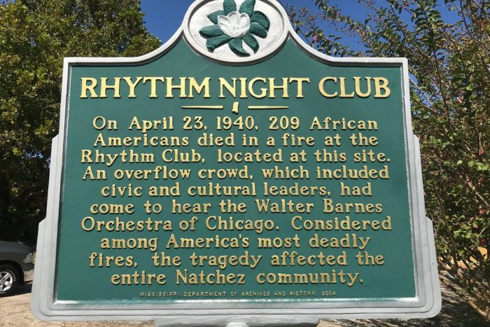 The historical marker for the Rhythm Night Club