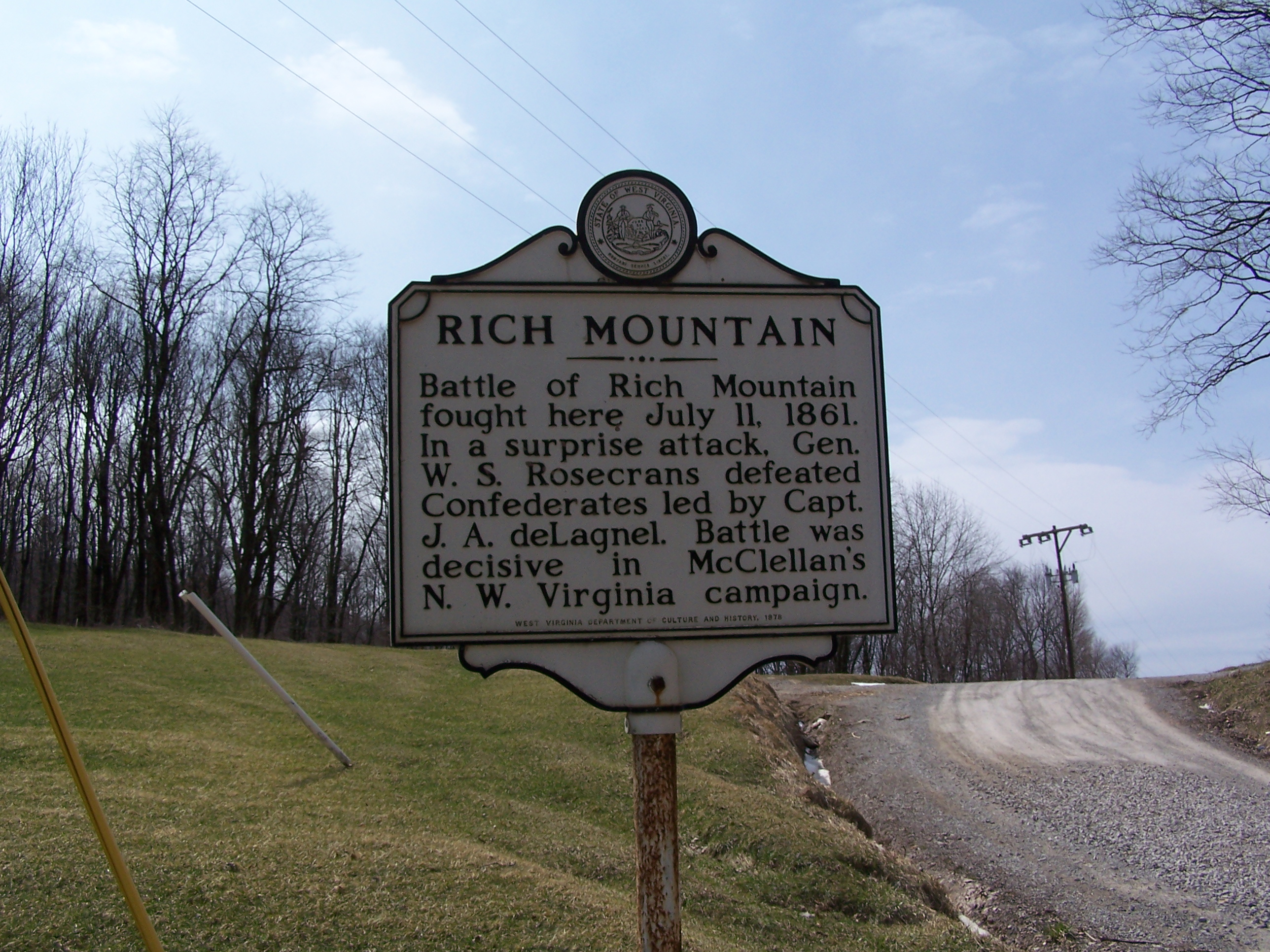 Historical Marker for the Battle of Rich Mountain