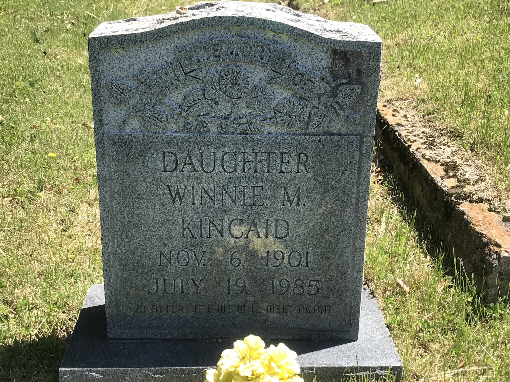 The grave of Winnie Kincaid, the woman who wrote the above documents.