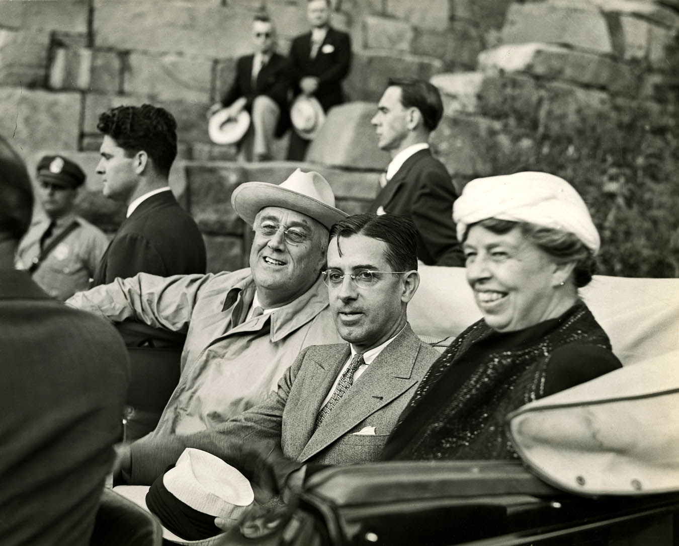 President Franklin Roosevelt, Governor Prentice Cooper of Tennessee, & First Lady Eleanor Roosevelt Attend the Dedication of the Great Smoky Mountains National Park, 1940