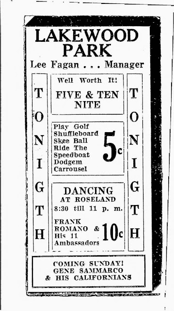 A Roseland Dance Hall advertisement, and other activities at Lakewood Park. Date is unknown, however this event would be before 1952, when the dance hall was demolished.