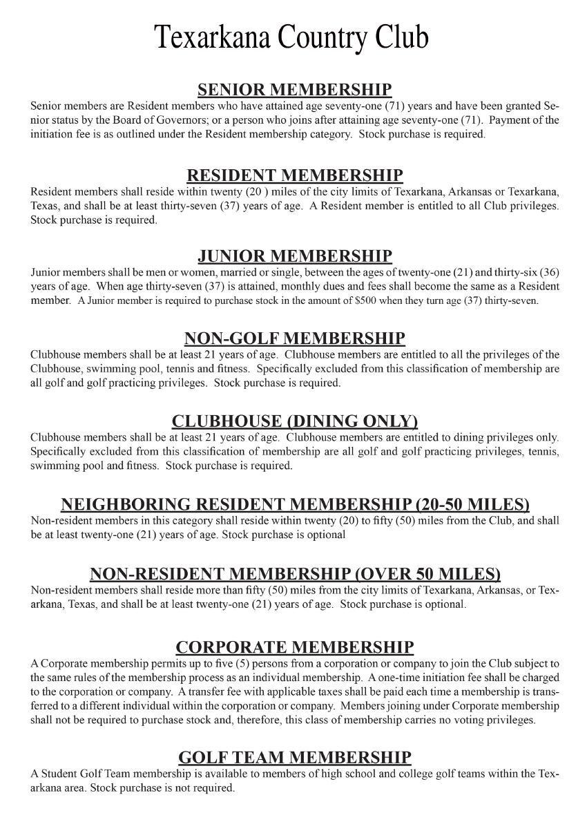 Membership information.