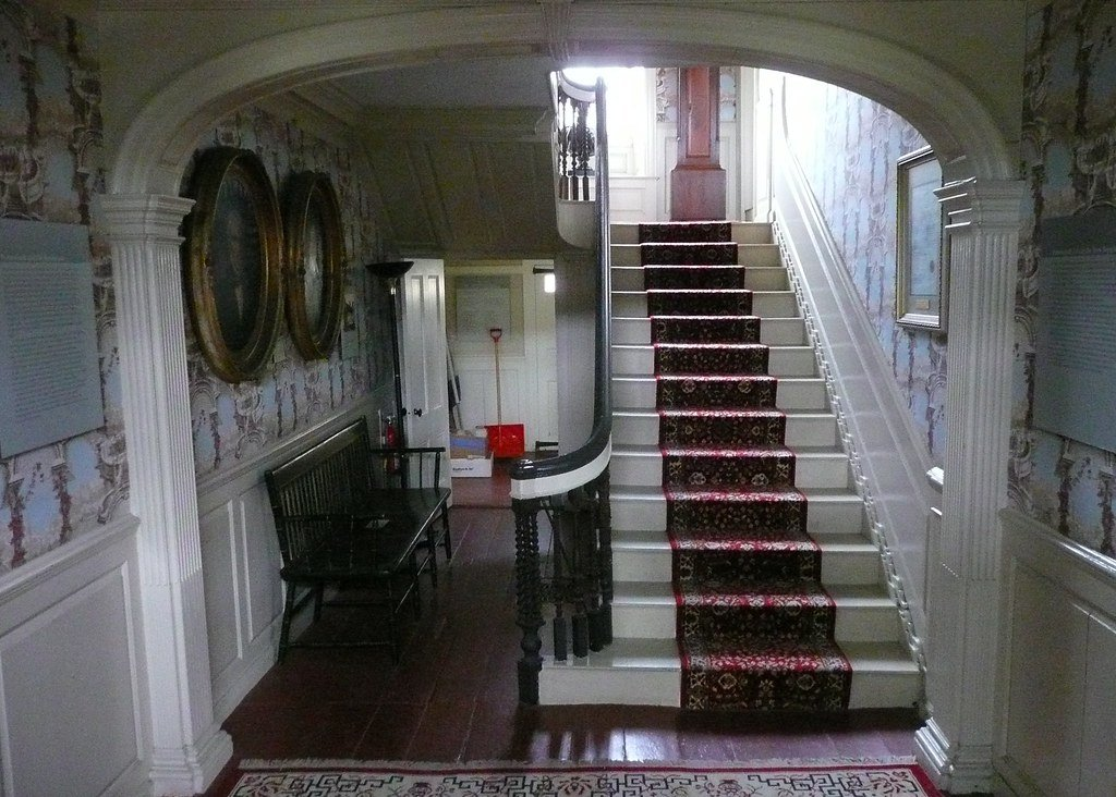 The house's central hallway and staircase.