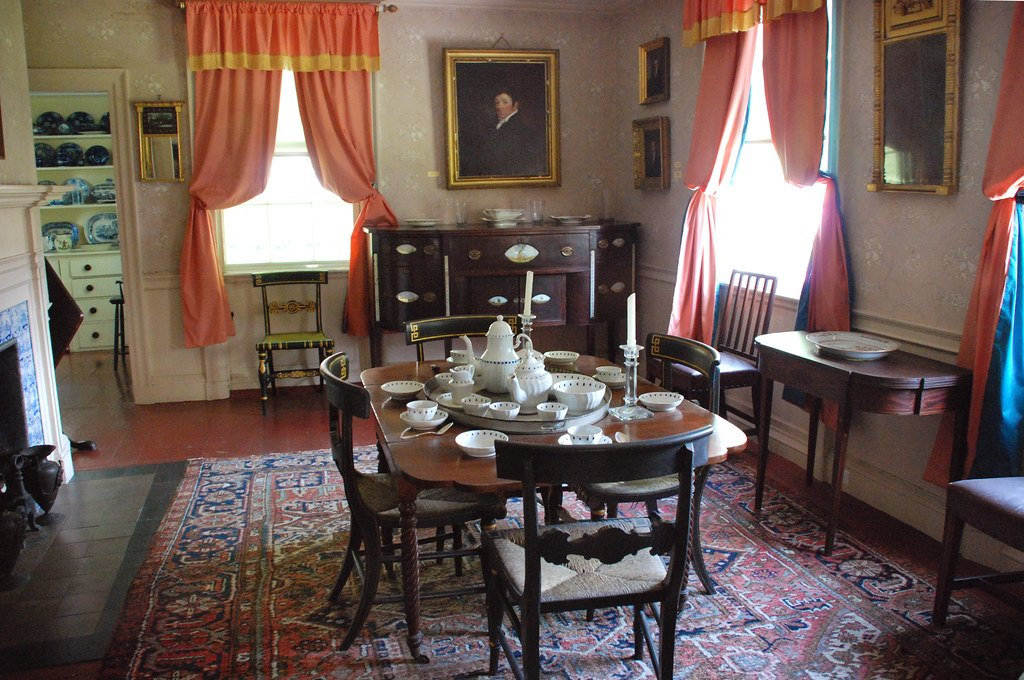 The house's first floor dining room has been restored to its early 19th century appearance.