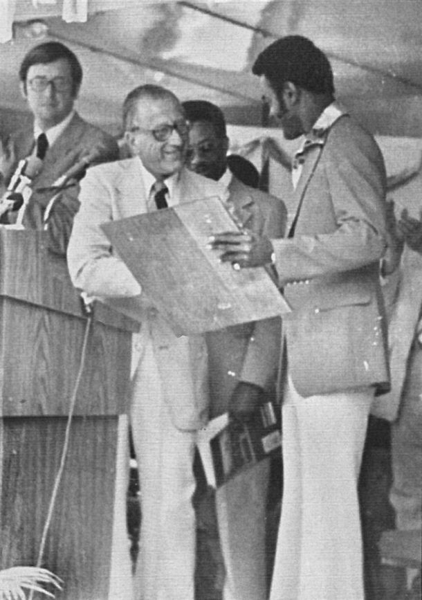 Mayor Harold Frankel congratulates Hal Greer at the renaming of Sixteenth Street to Hal Greer Blvd in 1978