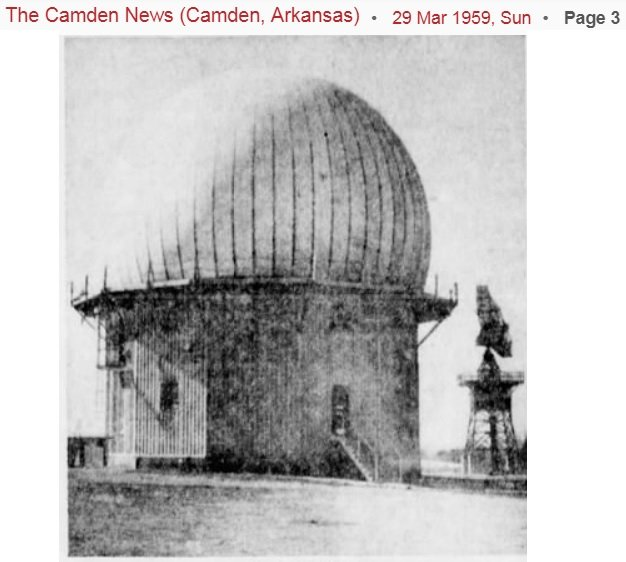 The Radome and Height Finder ( on the right). 