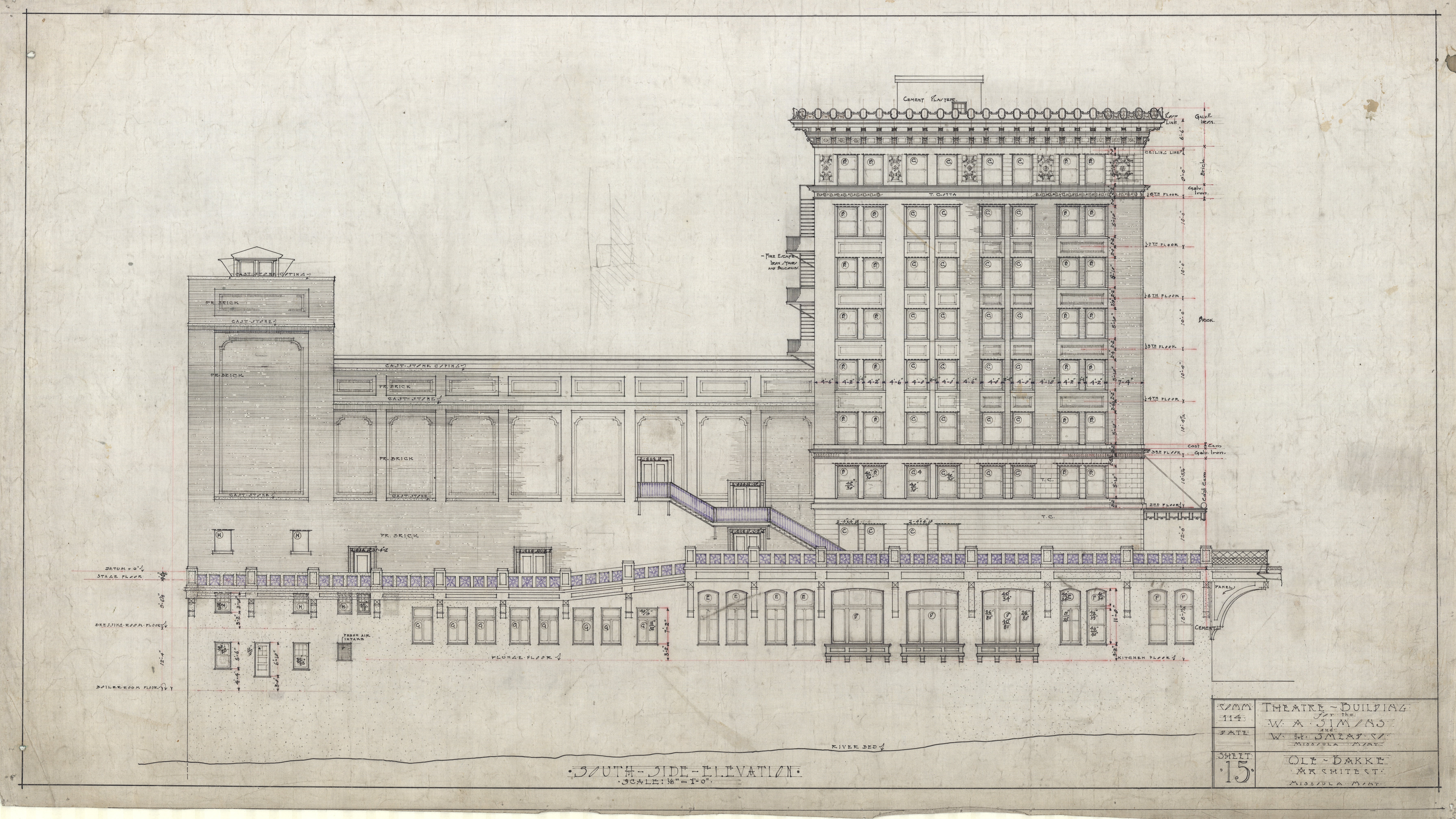 This is an original architectural drawing of the Wilma by Ole Bakke. It illustrates the side of the Wilma building facing the river.