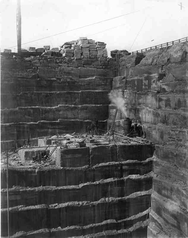 This picture represents how large the quarries are. The ladder had to be used for the workers to be able to get to and from their work stations in 1921.