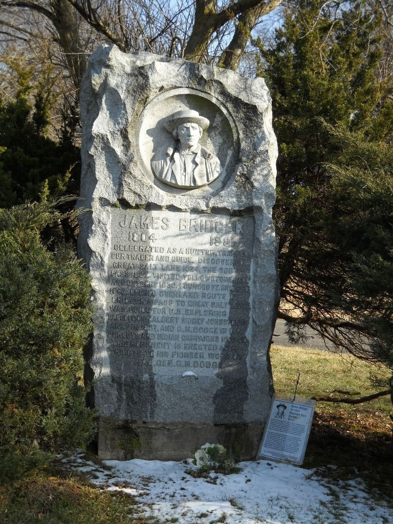 Jim Bridger's grave is one of numerous burials of prominent local individuals at the cemetery.