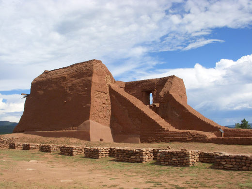 Adobe clay buildings made by the pueblo Native Americans.