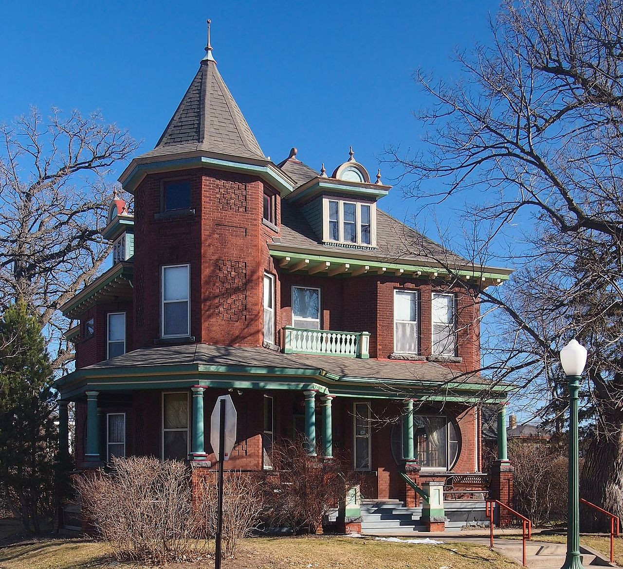 The John N. Bensen House was erected in 1903 and is an excellent example of Queen Anne architecture