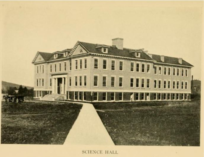 1914 view of Haymond Hall of Science.