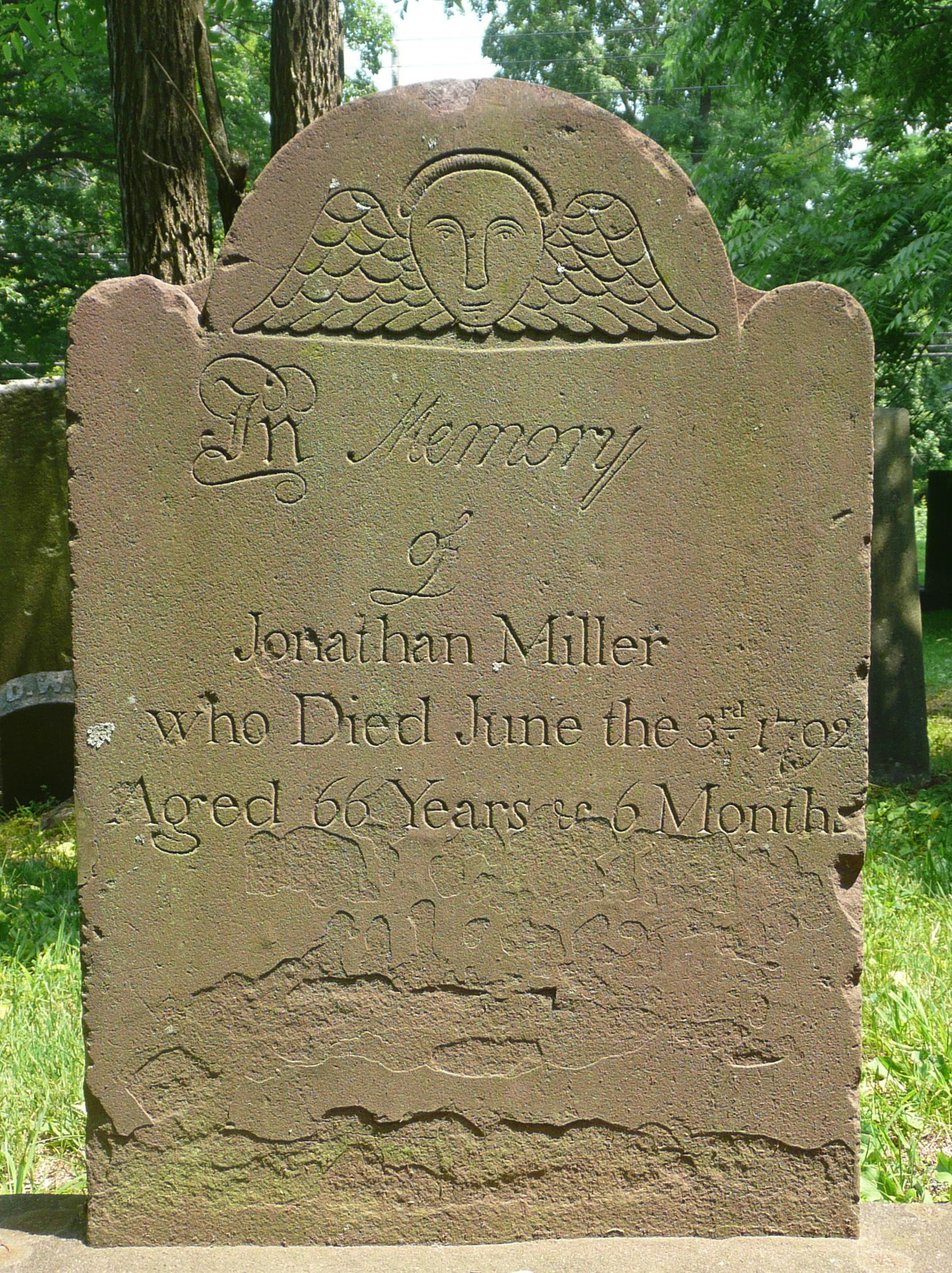 Tombstone of Jonathan Miller.