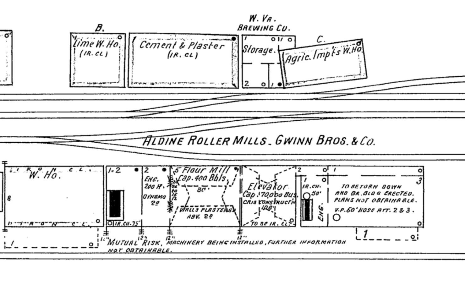 Sketch of the Gwinn Bros. Mill from the 1904 Sanborn fire maps