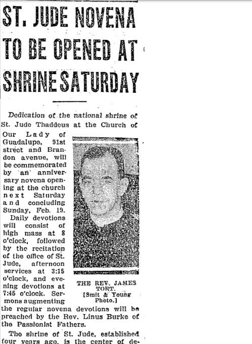 A snippet from a 1933 Chicago Tribune article announcing a novena, or nine day Catholic celebration, in honor of the anniversary of the church's dedication.