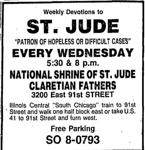 Just one of countless newspaper advertisements for the church, this one from 1981, demonstrating its role in the community in honoring a saint with a particularly loyal following beyond just the local community.