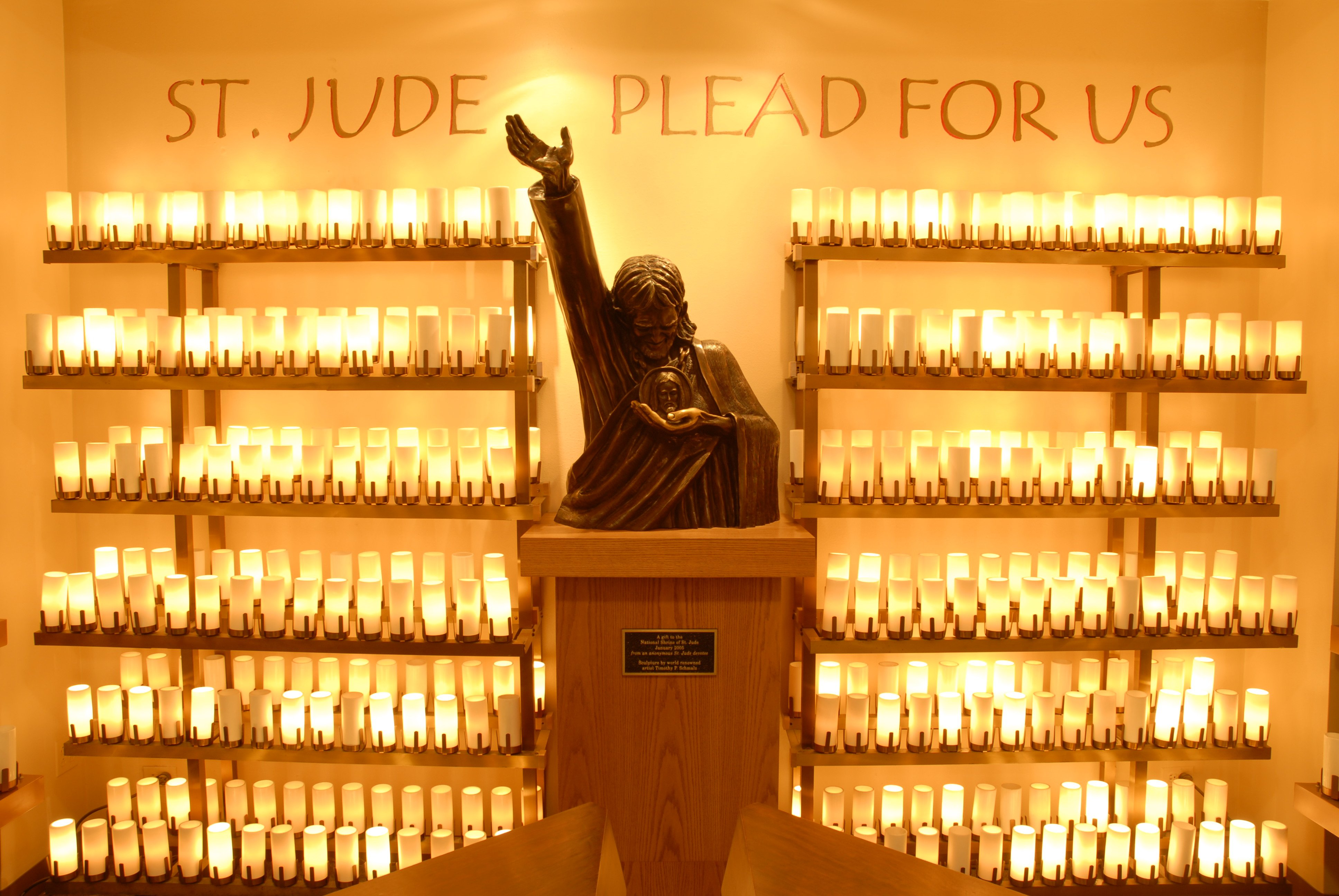 The shrine to Saint Jude itself, a saint thought to be important for addressing particularly trying times and hopeless causes.