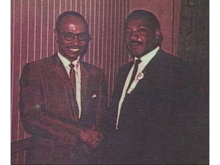 Huntsville's Dr. Sonnie W. Hereford III greets Dr. Martin Luther King, Jr. during King's 1962 visit to Huntsville