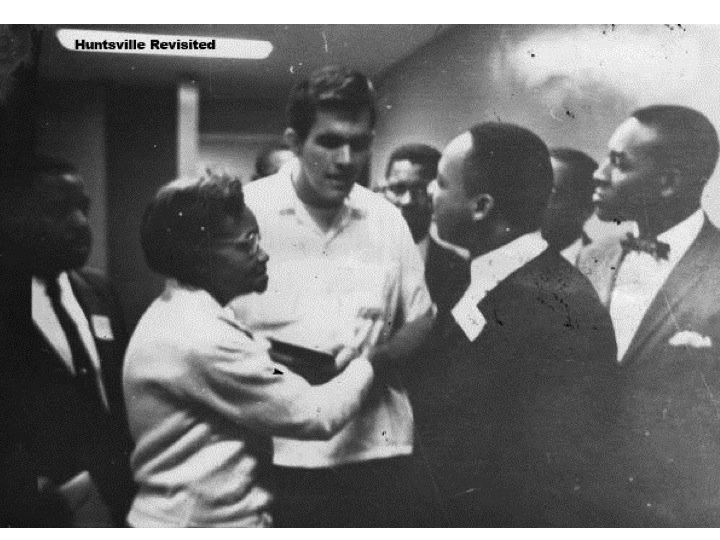 Dr. King speaks with followers during his 1962 visit to Huntsville. Courtesy of Huntsville Revisited.