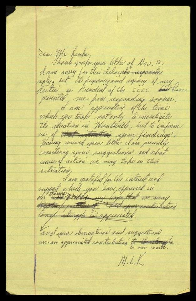Dr. King drafted this letter with his advice for the civil rights movement's leaders in Huntsville.