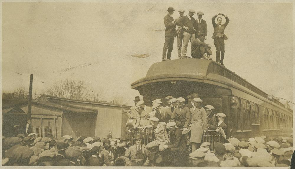Photo taken of the baseball team and the parade that escorted them to Monon station on the day of their departure.