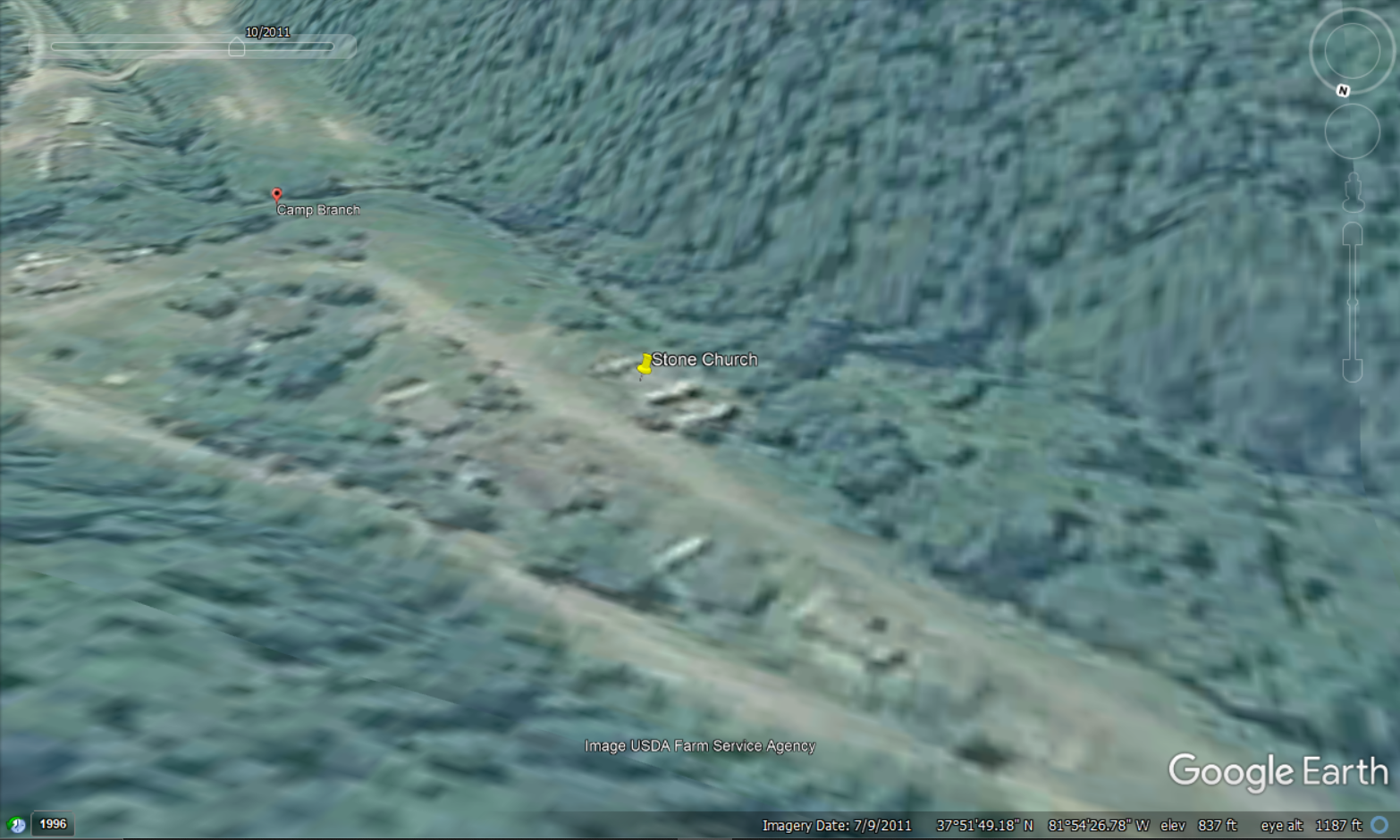 This photo from Google Earth shows that between 2007 and July of 2011, the roof collapsed.