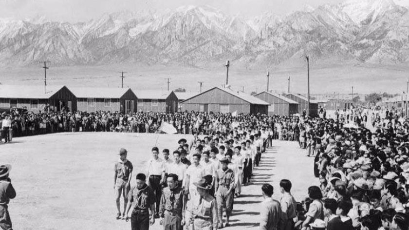 A picture of a internment camp in California. The fair grounds were merely a temporary way point for Japanese-Americans who would be transported to camps like this.