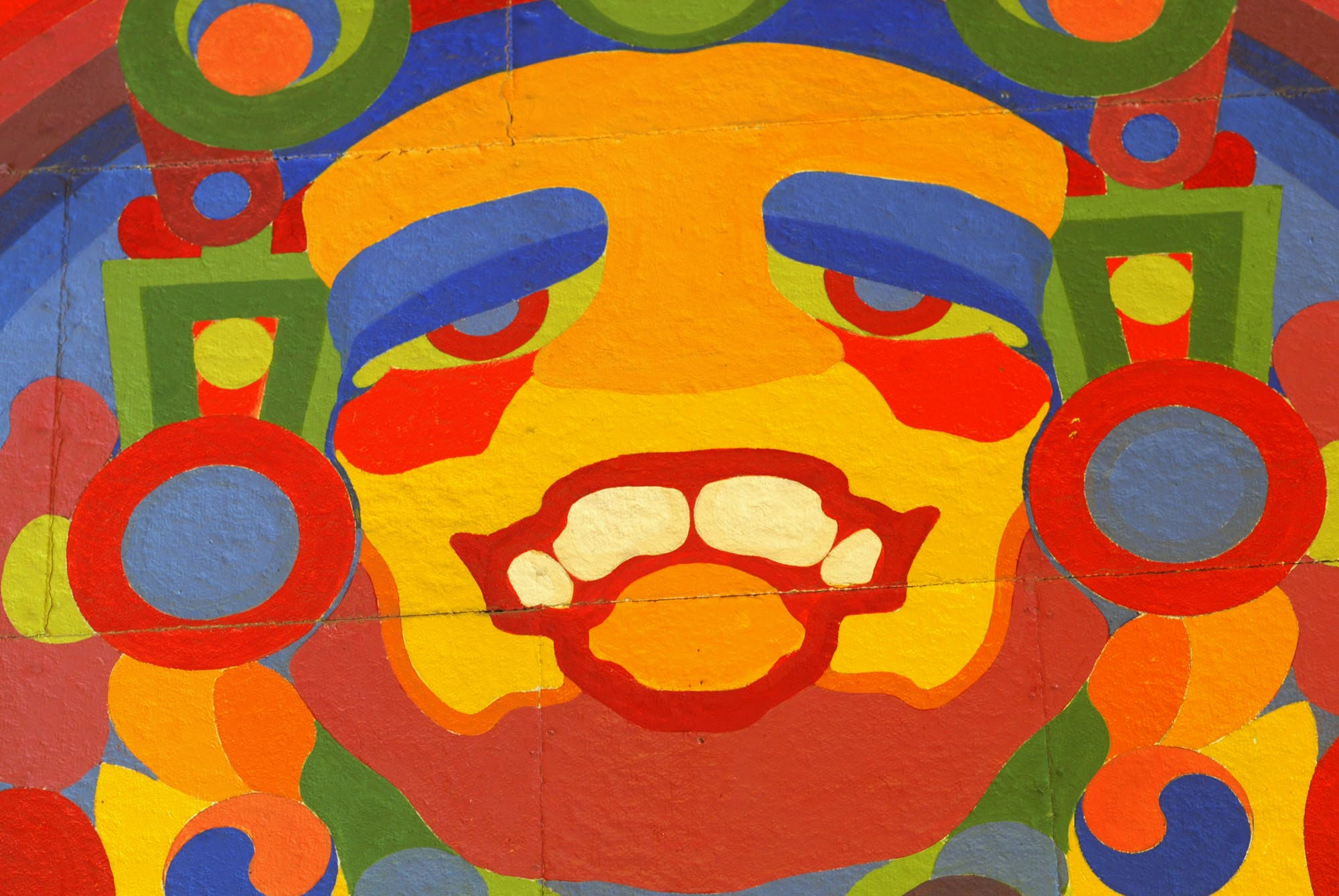 Detail on the mural of the trickster spirit Nanabohzo.