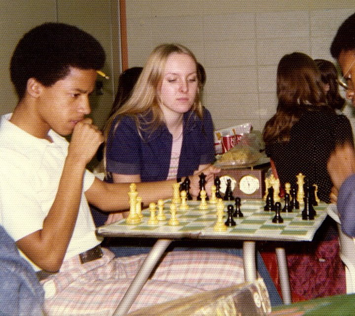 In the 1974-1975 school year, Butler's Chess Club demonstrates the school's integration successes. Pictured are (left to right) Sonnie Hereford IV, Patty Mollett, and Veral Hill.