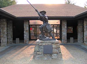 Overmountain Man statue at Sycamore Shoals State Historic Park, Elizabethton, Tennessee.