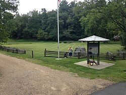 Trailhead of the 330-mile long Overmountain Victory National Historic Trail, Abingdon Muster Grounds.