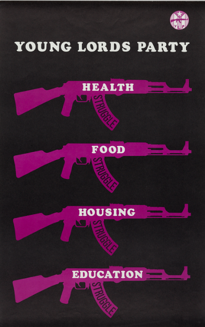 This poster, distributed around 1971, highlights the communal advancement initiatives that were integral components of the Young Lords' platform. 