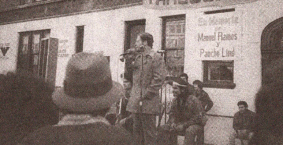 Cha-Cha Jimenez is pictured here in 1975 at a Young Lords Rally on the corner of Grace and Wilton.