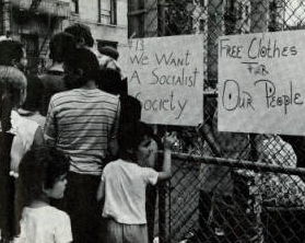This photograph references the Young Lords' platform and call for a socialist and more equitable society. 