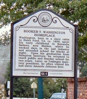 This historical marker emphasizes Washington's early years and the family's thrift and hard work.