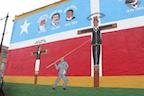 Mural after restoration in 2013.   La Crucifixion De Don Pedro Albizu Campos, Chicago, in DNA Info, March 11, 2013, accessed May 28, 2019, https://www.dnainfo.com/chicago/20130311/humboldt-park/city-sell-plot-next-citys-oldest-puerto-rican-mu