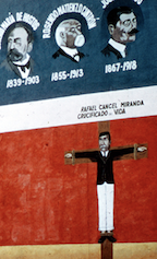 Close up of Campos being crucified.   George Stahl, La Crucifixion De Don Pedro Albizu Campos, Personal Collection of Chicago Murals, Chicago, in Chicago Mural Movement, accessed May 28, 2019, http://madstudio.northwestern.edu/ChicagoM