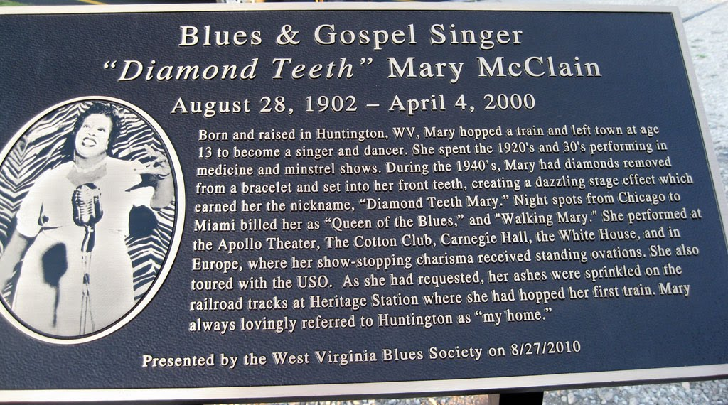 Informational plaque about 'Diamond Teeth' Mary McClain